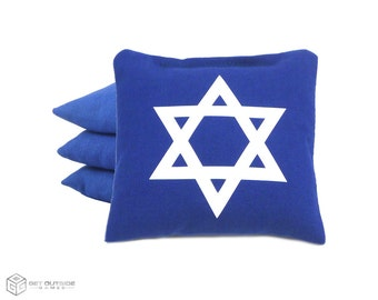 4 Star of David Classic Series Cornhole Bags | Corn or All Weather with Color Options