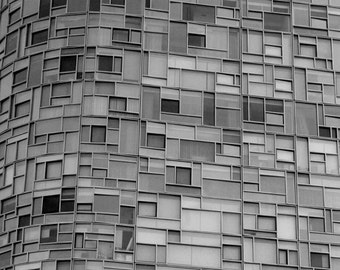 Abstract architecture modern art print, black and white New York building window photography minimalist art, grey wall decor office wall art