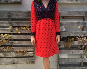 Bold 1970s Red and Navy Lapel Dress