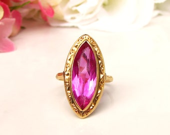 Art Deco Pink Sapphire Alternative Engagement Ring Marquise Cut 7.08ct Synthetic Pink Sapphire Navette Ring 18K Gold Filigree Art Deco Ring