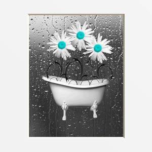Incroyable Teal Gray Bathroom Wall Art, Teal Daisy Flowers, Bathtub, Raindrops, Modern  Teal