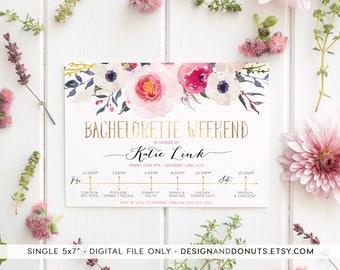 Bachelorette Weekend Invitation, Printable, Timeline, Itinerary Invite, Floral, Boho, Gold Foil Invitation [326]