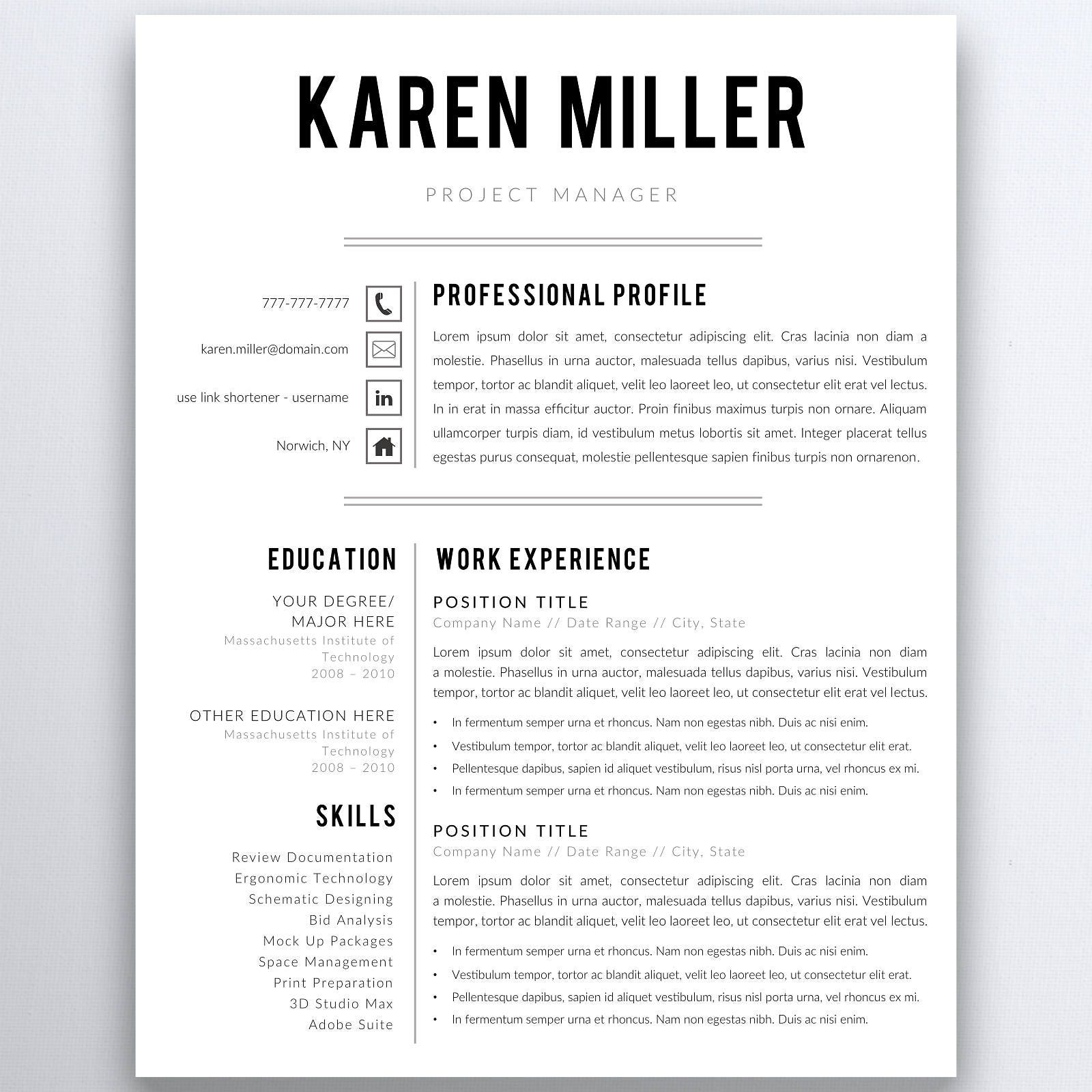 Professional Resume Template 5 Pages Clean Resume Template