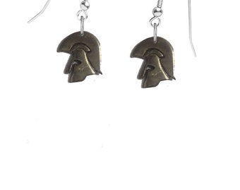 Pair of Trojan Helmet on hook Earrings sterling silver 925 jewellery jewelry