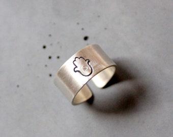 Hamsa Judaica Ring, Sterling Silver Ring with Hamsa Hand with Tiny Zirc Gemstone, Fatima Hand