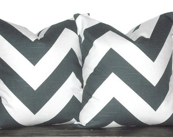 "Set of 16"" Chevron Zig Zag Pillows- 16 x 16 Inch Charcoal and White Chevron Pillow Covers - TWO PILLOW COVERS"