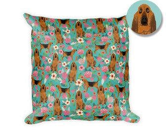 "Bloodhound Dog Floral Square Pillow - 18""x18"""