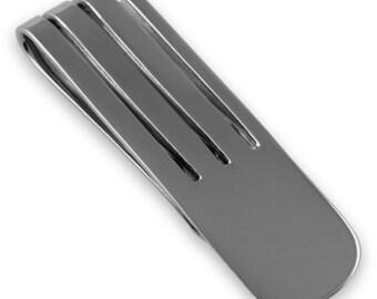 Sterling Silver MONEY CLIP - Art Deco Design - Boxed