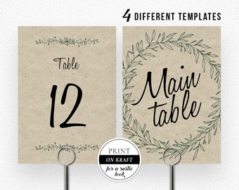 Wedding Table Numbers, Printable Table Numbers, Rustic Table Numbers, Table Numbers Wedding, PDF Instant Download, Table Number Set