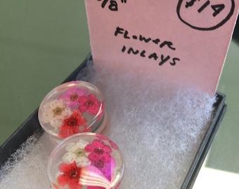 "Pink Flower Inlay Plugs (5/8"")"