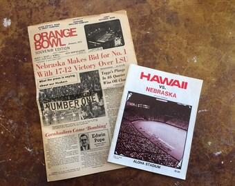 Vintage 1970s Nebraska Program and Newspaper, 1976 Nebraska va Hawaii, 1971 Nebraska Orange Bowl