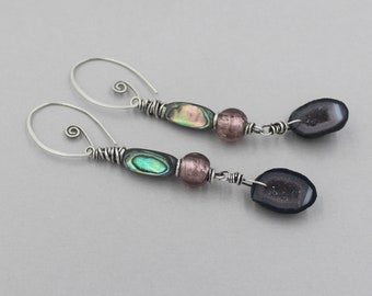 Baby Geode Earrings, Mini Tabasco Geode Dangle Earrings, Sparkly, Druzy Geodes with Antique Silver Foil Wound Glass Bead, Abalone, Silver