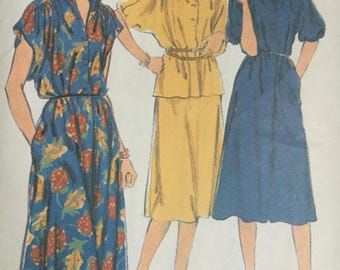Sewing pattern -  Dress pattern , in two lengths, or top and skirt,  vintage sewing pattern, style 2563, Size 14, Bust 82""
