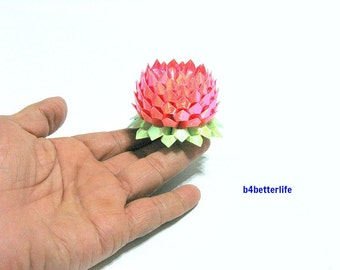 A piece of Small Size Pink Color Hand-folded Origami Lotus. (AV paper series). #FLT-163.