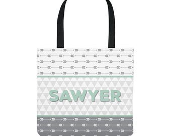 Personalized Tote Bag for Kids - Arrows in Gray and Mint - Three Sizes to Choose From - Great for library, lessons, and more!