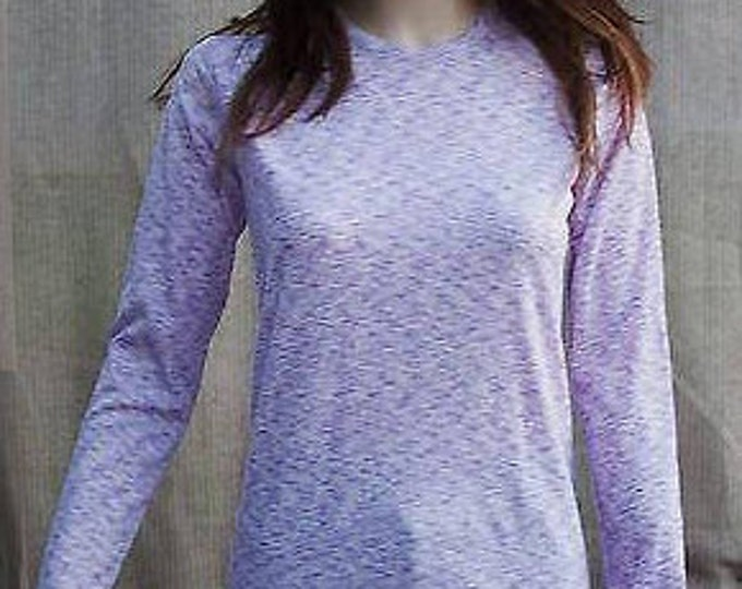 Vintage 70s Mod Career Casual Purple White Polyester Womens Preppy Long Sleeve Pullover Blouse Top