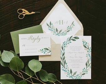 Abigail Leafy Painted Wedding Invitation Suite