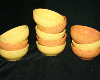 5 Vintage Ribbed McCoy Cereal Bowls ...Orange