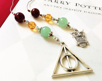 Harry Potter Deathly Hallows Bookmark - Young Adult Fiction Beaded Book Thong in Ruby Red, Teal, and Gold Deathly Hallows and Owl Charms