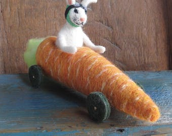 Needle Felted Easter Bunny Rabbit Driving Carrot Go-Cart. Made to Order