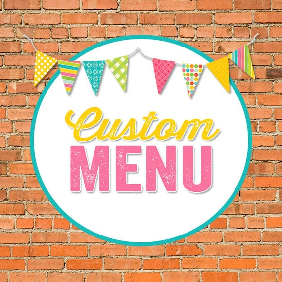 MENU digital and printable file created to match your chosen invite katiedid designs cards
