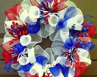 Summer Wreath for Front Door Wreath, Patriotic Wreath, 4th of July Wreath, 4th of July Decor, Patriotic Decor, Independence Day, Americana