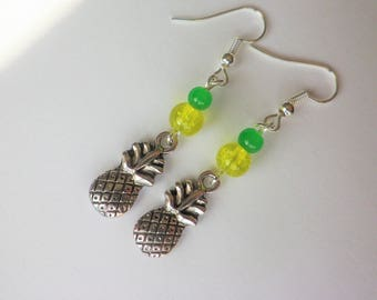 Silver pineapple fruit yellow and green beads earrings