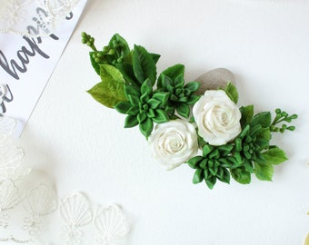 Dark green succulents hair clips for wedding floral hair piece Rustic wedding flower hair clip White rose hair piece woodland hairpiece