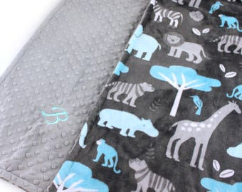 Personalized Blanket, Baby Boy Minky Baby Blanket, Baby Gift, Blue Gray Zoo Animal Blanket, Custom Baby Blanket, Receiving Blanket, Handmade