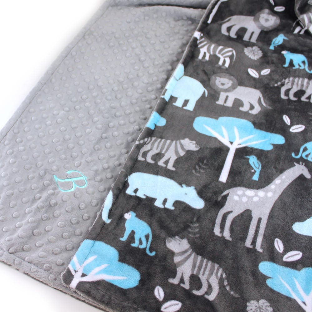 Personalized blanket baby boy minky baby blanket baby gift blue personalized blanket baby boy minky baby blanket baby gift blue gray zoo animal blanket custom baby blanket receiving blanket handmade negle Image collections