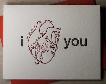 "Letterpress ""I Heart You"" card (#SEN003)"