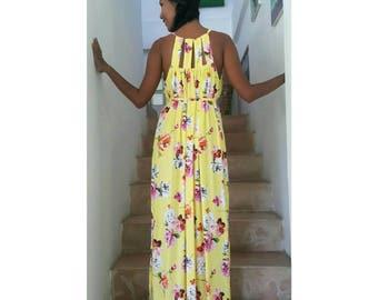 Yellow Maxi Dress, Pink Flower Long dress, Women's Summer Dress, Floral Summer Dress