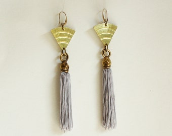 Fringe earring- Tassel Earrings -Tassel fringe Jewelry -boho earrings - Statement Earrings - handmade Earrings - Dangle