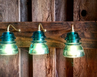 "24"" Vintage Insulator 3 Light Vanity - Reclaimed Wood"