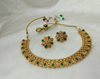 Bollywood Gold plated leaf design necklace set woman's glossy ethnic traditional earring