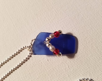 Cobalt blue sea glass flip flop pendant, beach glass, summer, beach