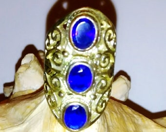 Sterling Silver and Blue Sapphire Knuckle Ring