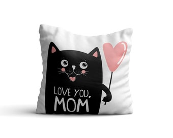 Black Cat with a Pink Balloon Throw Pillow