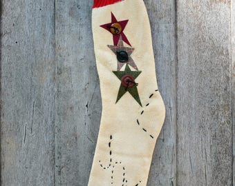 Primitive Christmas Stocking Old Sock