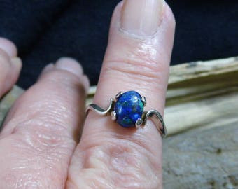 Blue Azurite Sterling Silver Birthstone Solitaire Ring size 7 1/2