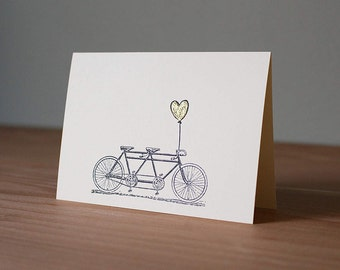 Handmade Tandem Bike & Gold Embossed Heart Card