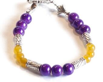PURPLE & GOLD Women's stackable bracelet, stacking bracelet, statement bracelet, beaded bracelet
