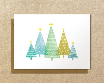 Illustrated Christmas Trees Card | A2 Holiday Card