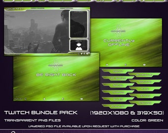 Blurred Existance - Twitch Overlay Bundle Pack - Green