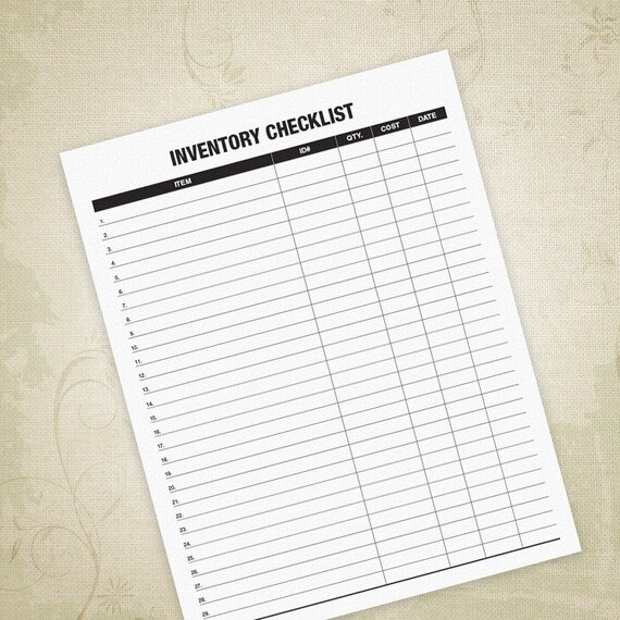 Inventory Checklist Printable Pdf Item Listing Inventory