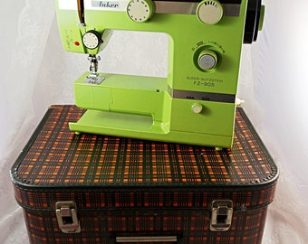 Vintage Sewing Machine West German Anker Sewing Machine from 1960s in Tartan Case Retro Sewing Machine Working Sewing Machine, Green Machine