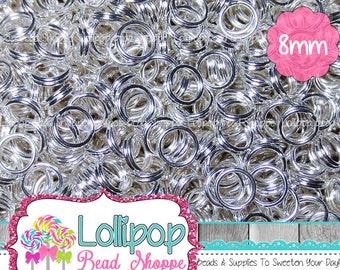 8mm Silver Split Rings, Double Loop Jump Rings, Silver Tone Tiny Key Rings, Silver Plate Split Rings, Pkg of 150