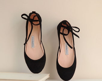 Black Nubuck Ballet Flats with Leather Ankle Ribbons | Classic Model | Standard Width | Black Nubuck Mary Janes | Ready to Ship