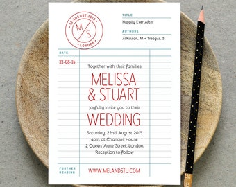 Printable Wedding Invitation PDF / 'Library Card' Retro Wedding Invite / Red Grey Blue White / Digital File Only / Printing Also Available