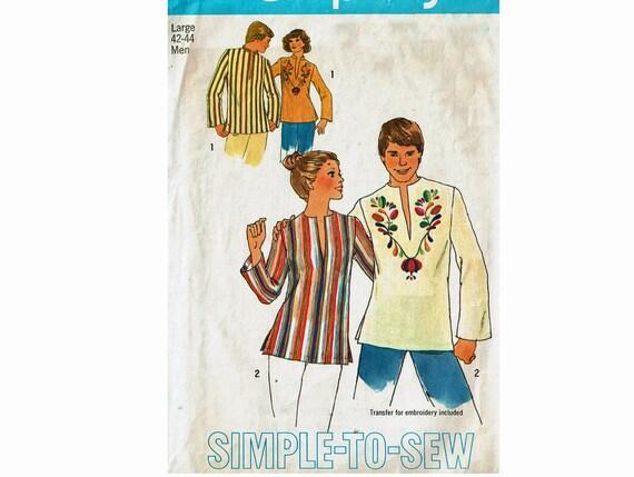 70s Men\'s Dashiki Tunic Top Caftan Shirt Sewing Pattern Size Large ...